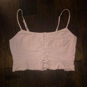 Pink Tobi Button Crop Top
